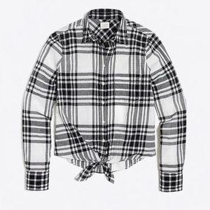 J. CREW Tie Waist Plaid Print Button Down Shirt S